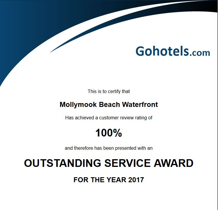 Gohotel Customer Service Award,Mollymook Beach Waterfront,Mollymook Accommodation
