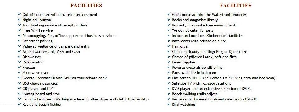 Mollymook Beach Apartments,Mollymook Beach,Apartments,Mollymook,services,facilities