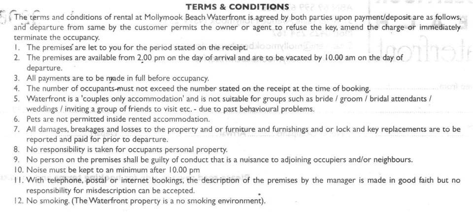 Mollymook Beach waterfront,terms and conditions